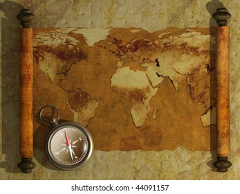 Compass and antique map - 3d