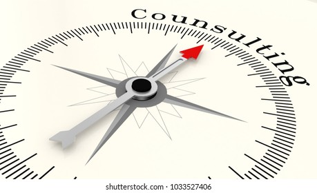 Compass with arrow pointing to the word Counsulting, 3D rendering