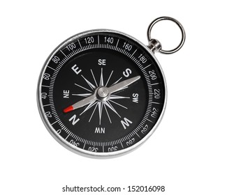 Compass close-up on the white background