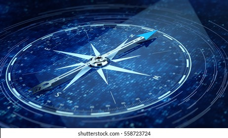 Compass Direction On Digital Code Blue Background. 3d rendering