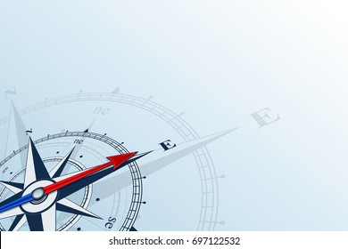 Compass east. Compass with wind rose, the arrow points to the east. Compass on a blue background. Compass illustrations can be used as background. East direction. Flat background with copy space place