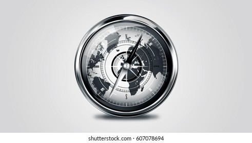 compass glossy , 3d , background and logo , by: nasa.gov