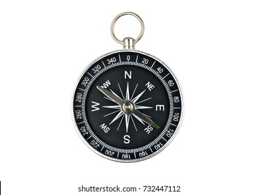 compass isolated on white background. Shape black circle stainless numbers and miles directions.Concept signs symbols Tool for travel, tourism,science,get lost, business and design and decoration.