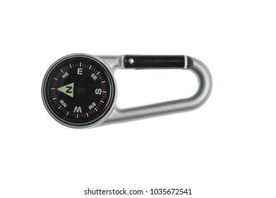 Compass Keychain isolated on white