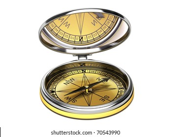 Compass with mirrored lid.