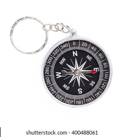 Compass with needle pointing to east isolated on white background