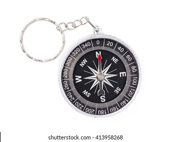 Compass with needle pointing to north isolated on white background