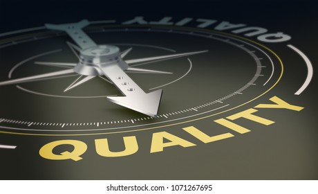 compass with the needle pointing at the text: quality, concept of searching or offering high quality products and services (3d render)