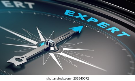 Compass with needle pointing the word expert, concept image to illustrate business consulting and advisory.