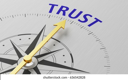Compass needle pointing to the word Trust