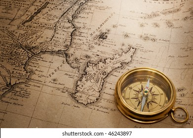 compass and old map (1856)