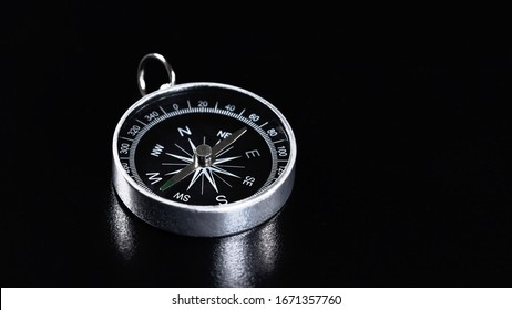 Compass On Black Background, Compass Copy Space