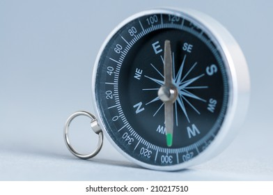 Compass on the grey background. Studio shot. Close-up.