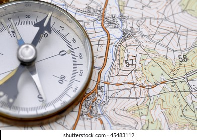 Compass on a map.