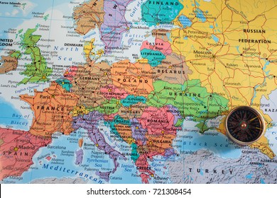 compass on the map of europe