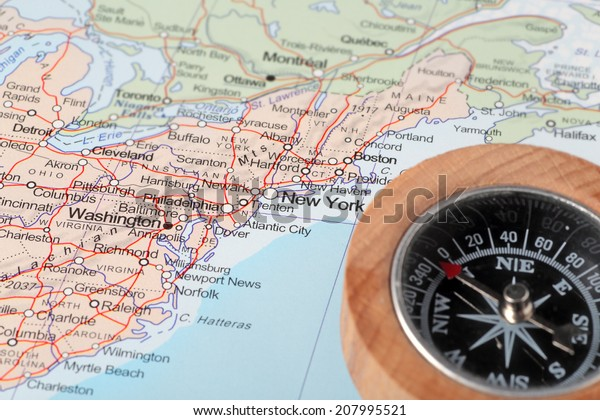 Compass On Map Pointing United States Stock Photo (Edit Now ...