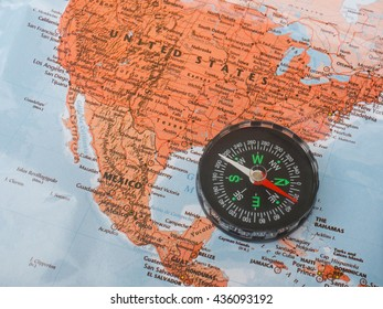 compass on map united state