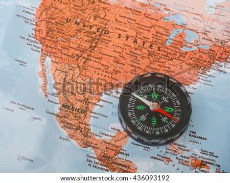 Compass On Map United State Stock Photo (Edit Now) 436093192 ...