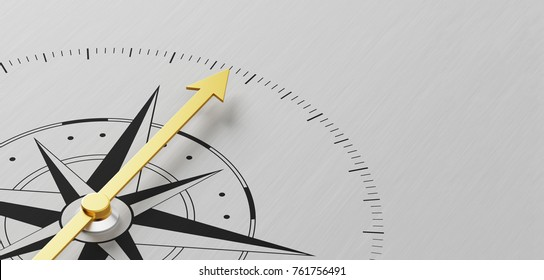 A Compass on a metal background with copy space