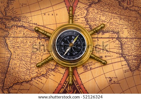 Compass On Old World Map Background Stock Photo Edit Now 52126324