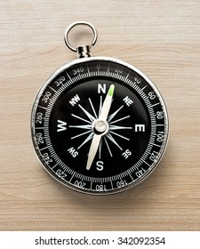 Compass on the wooden background in closeup