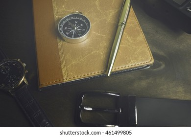 compass and other items on the desktop