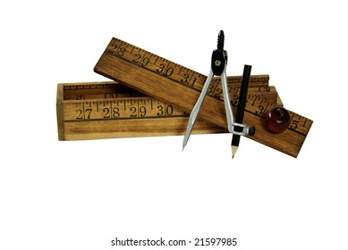 Compass and pencil used for drawing circles, Colored pencils used for drawing, Creative pencil box made up of rulers and wooden apple
