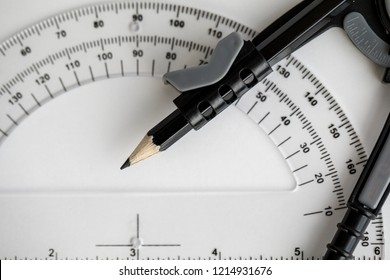 Compass and protractor for math and engineers or architects