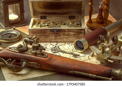 a compass, a sextant, a spyglass, an antique pistol, and a chest of gold on a table in the captain's cabin of a pirate ship. Still-life