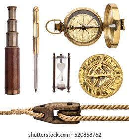Compass, sundial, telescope, rope, divider isolated on white background. Vintage sea collection.