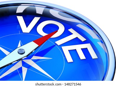 compass with vote icon