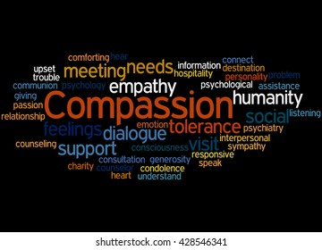 Compassion, word cloud concept on black background.