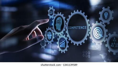 Competence Skill Personal Development Business Konzept auf virtuellem Bildschirm.