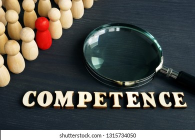 Competence from wooden letters and figurines.