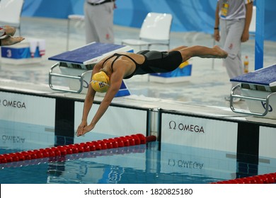 Competes in Women's 100m Breaststroke Semifinal 1 held at the Swedish National Aquatics Center, Joline Hostman at the Beijing Summer Olympics in August 2008