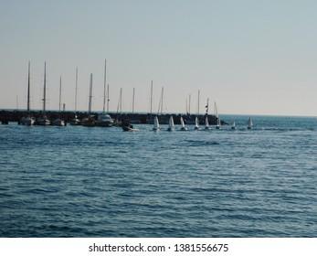 Competition of the Barcolana in Sistiana return of thè boats ti the port.Trieste.Friuli Venezia Giulia Italy. April 2019