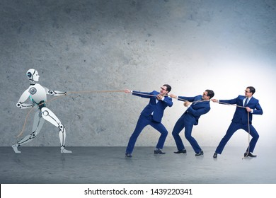 Competition between humans and robots in tug of war concept
