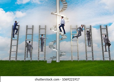 Competition concept with businessman beating competitors