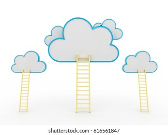 A competition concept, clouds with ladders on blue. 3d render