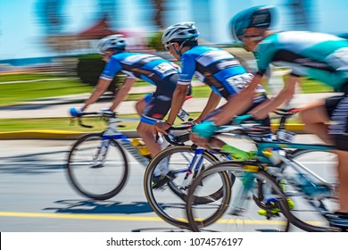 Competition cycling race on the road. Motion blur photo