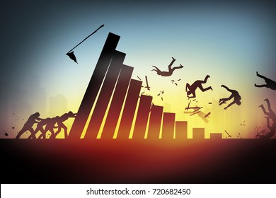 competition,Failure concept, businessman falling