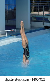 Competitions on jumps in water. A beautiful jump of the harmonous girl