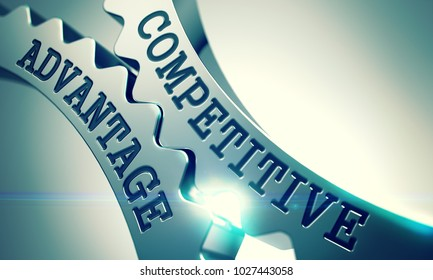 Competitive Advantage - Illustration with Lens Effect. Competitive Advantage on Mechanism of Shiny Metal Cog Gears. Interaction Concept in Technical Design. 3D Illustration .