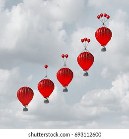 Competitive advantage increase concept as a group of rising hot air balloons with increasing amount of assistance to beat the competition as a business metaphor with 3D illustration elements.