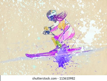 competitor in downhill skiing - - hand drawing picture - this is original grunge drawing