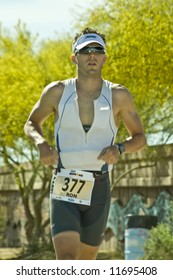 Competitor Ron Tribendis in the running stage of the April  2008 Ironman Triathlon in Tempe Arizona.