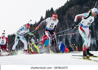 Competitors, Pursuit Men, IBU World Championship Biathlon 2017, Hochfilzen, Austria, February 12th 2017, Editorial photo
