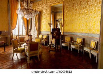 Compiegne,  France - Apr 5, 2019: Interior of the Chateau de Compiegne, a French chateau, a royal residence built for Louis XV and restored by Napoleon