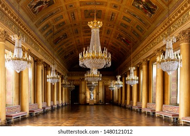 Compiegne,  France - Apr 5, 2019: Сhandelier of the Chateau de Compiegne, a French chateau, a royal residence built for Louis XV and restored by Napoleon