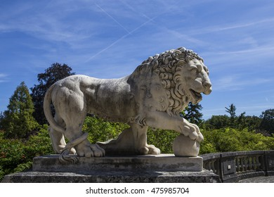 COMPIEGNE, FRANCE, AUGUST 13, 2016 : exteriors and statues in gardens of chateau de Compiegne, august 13, 2016 in Compiegne, Oise, France
